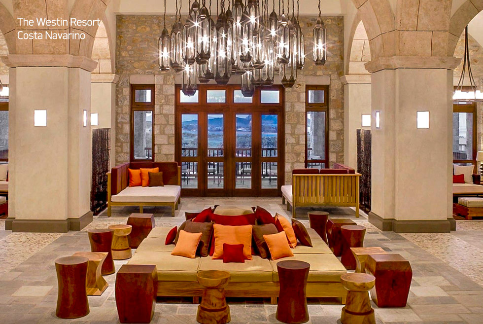 Costa Navarino. The Westin resort lobby. Holidays in Greece.