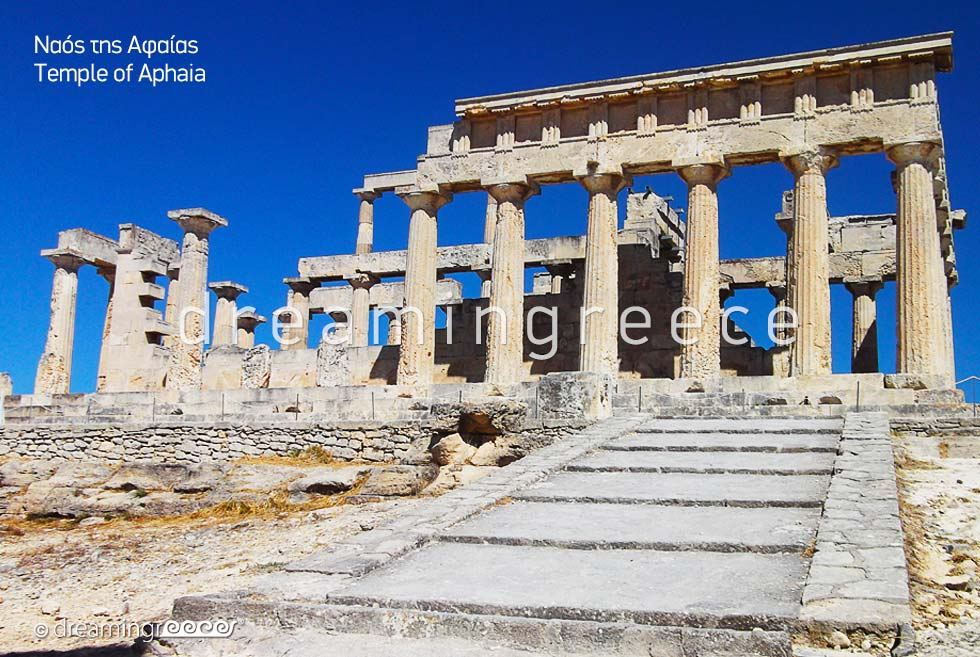 Aegina island Greece - Temple of Aphaia. Archaeological Sites in Greece