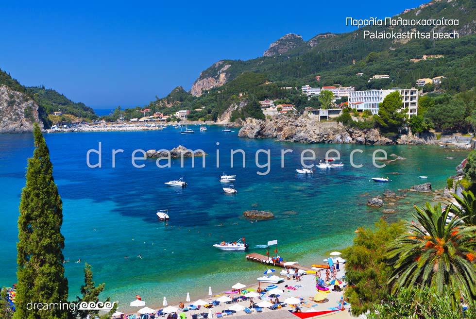 Vacations Greek islands. Kerkyra island Greece. Palaiokastritsa beach.