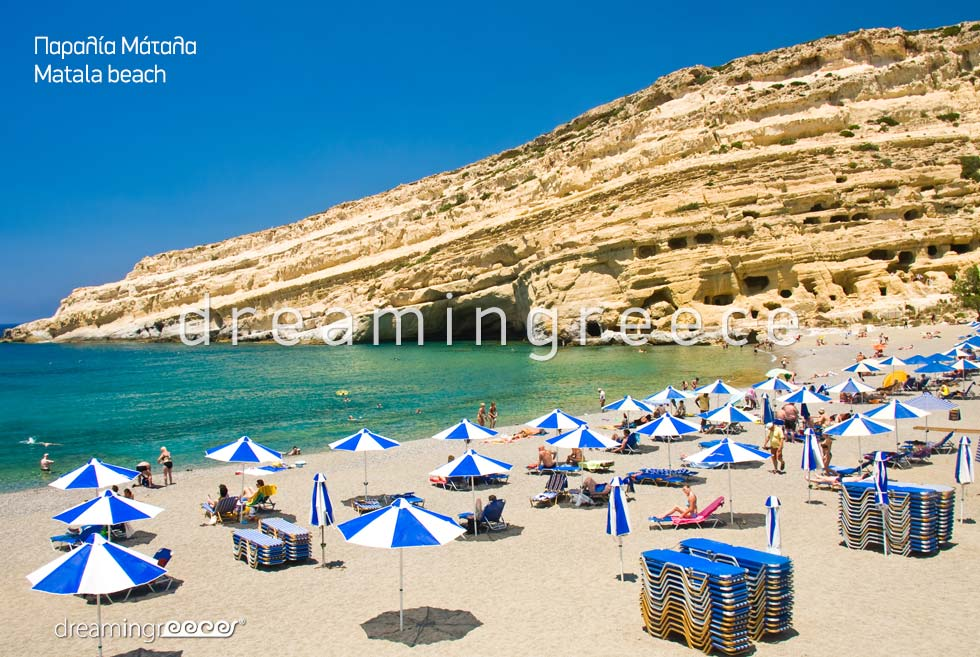 Matala beach. Heraklion Beaches. Summer Holidays in Crete.
