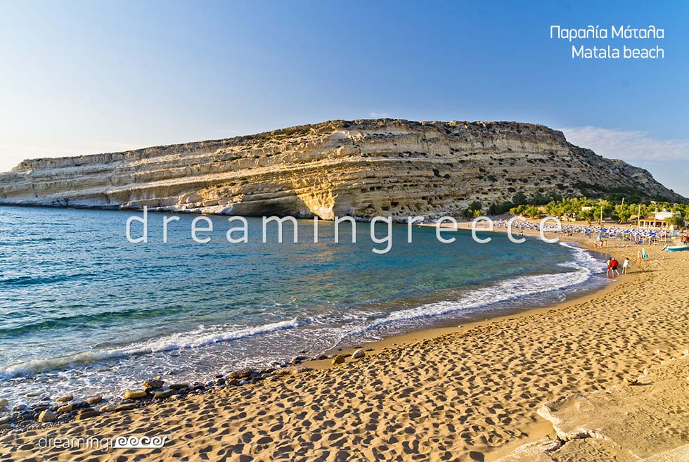 Matala beach. Heraklion Beaches. Vacations in Crete.