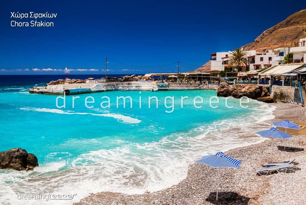 Chora Sfakion Chania Crete island. Summer Holidays in Greece. Greek islands.