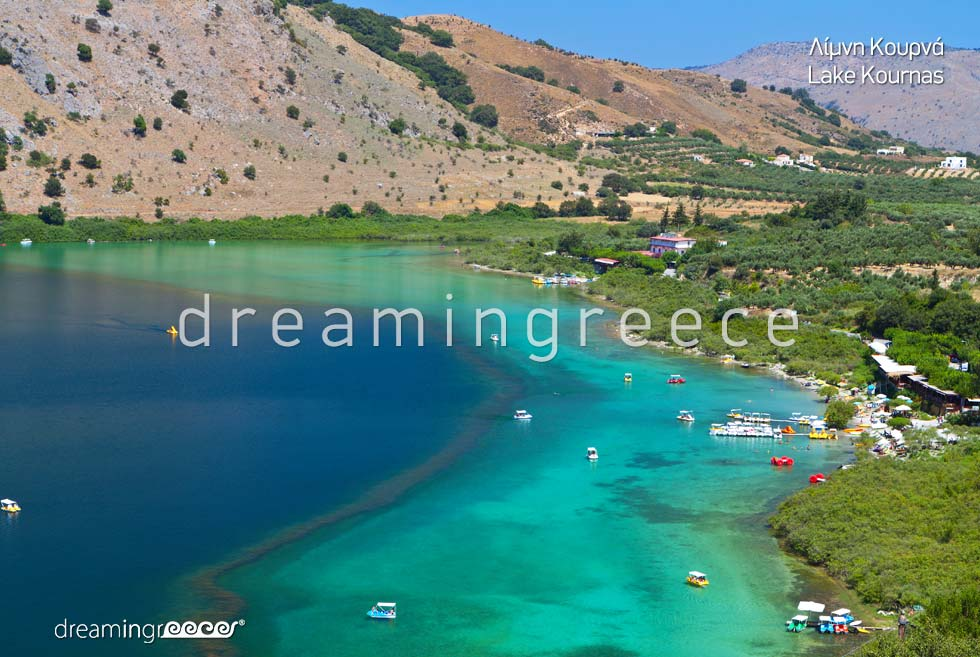 Lake Kournas Chania Crete island Greece. Vacations in Chania. Greek islands