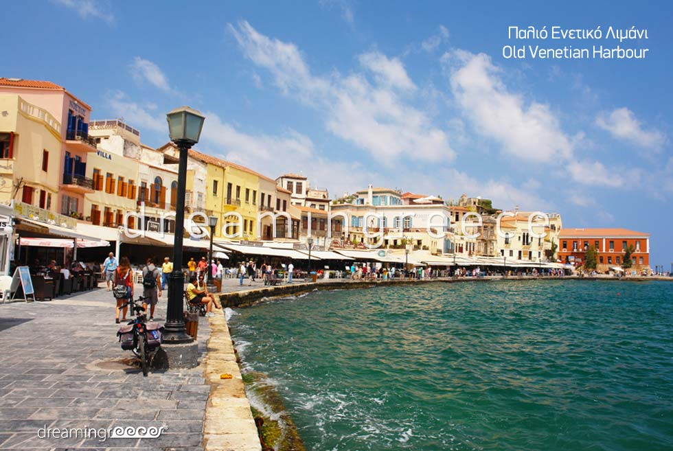 Old Venetian Harbour Chania Crete island. Travel Guide of Greece & Greek islands