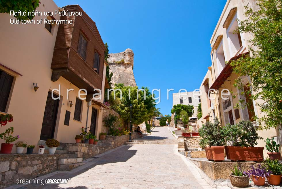 Old Town Rethymno Crete island. Summer Holidays in Greece