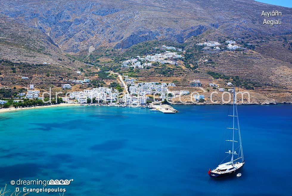 Aegiali Amorgos island. Summer Holidays in Greece.