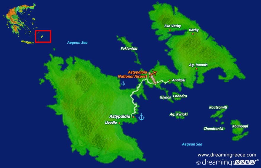 Astypalaia island Map Dodecanese Greece
