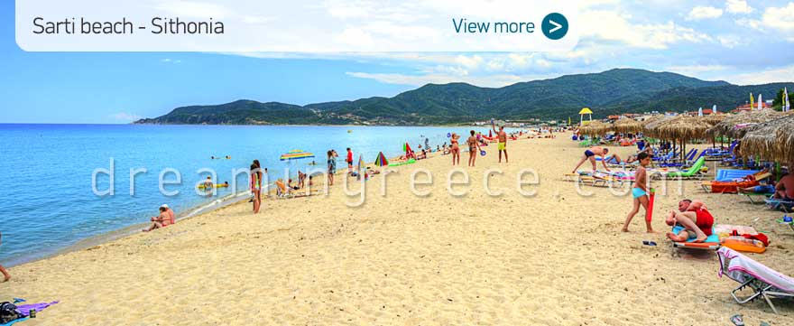 Sarti beach Halkidiki Beaches Sithonia Greece. Tourist guide Chalkidiki.