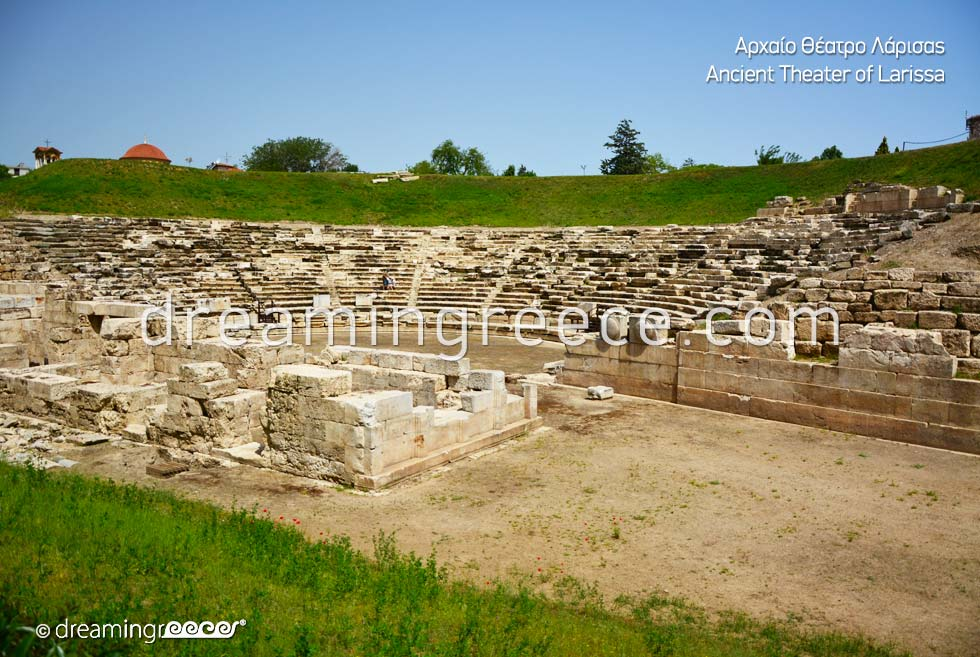 Ancient Theater of Larissa. Travel Guide of Greece.