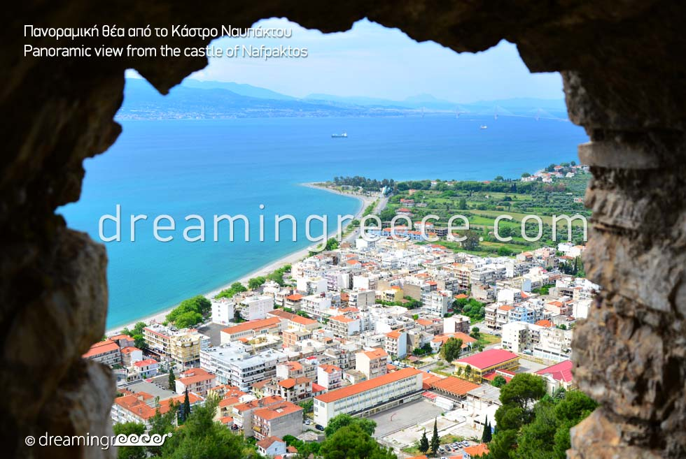 View from the Castle of Nafpaktos. Dream in Greece.