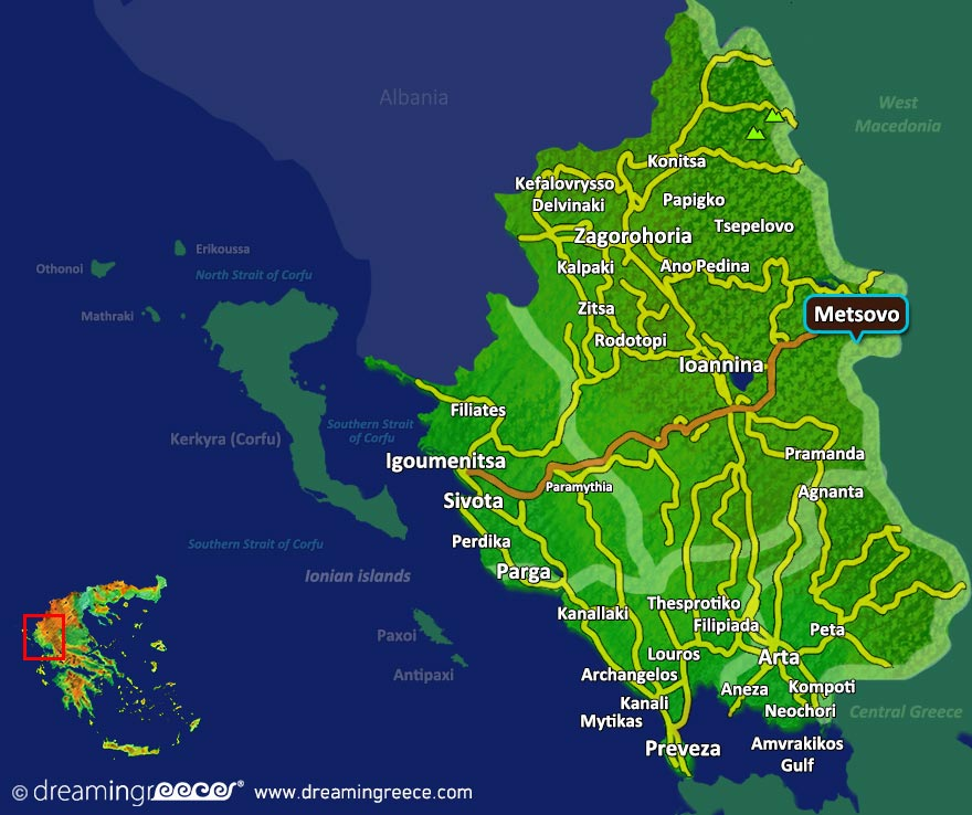 Metsovo Map Greece. Winter Holidays in Greece.