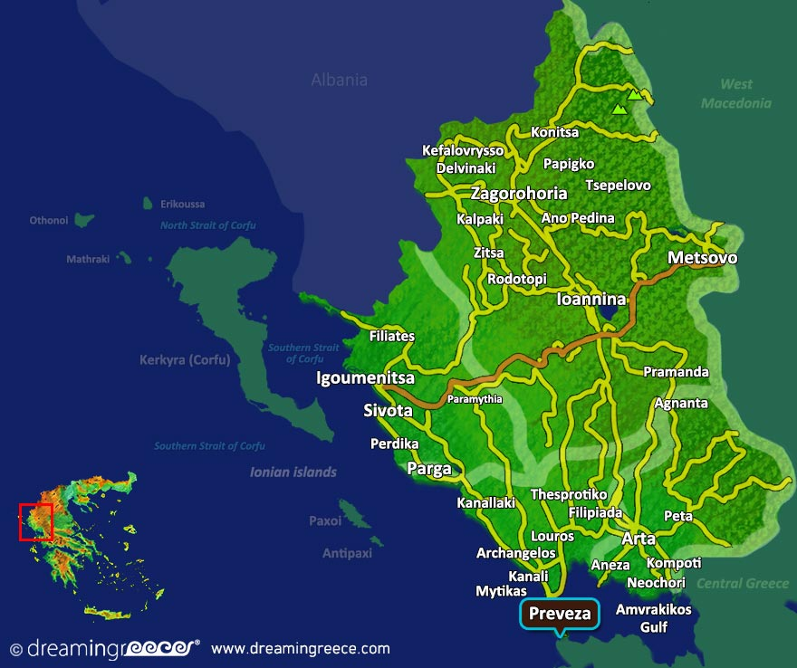 Preveza Map Greece. Holidays in Greece.