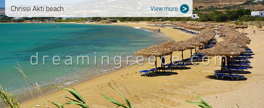 Chrissi Akti beach Paros Beaches Greece. Vacations in Greece.