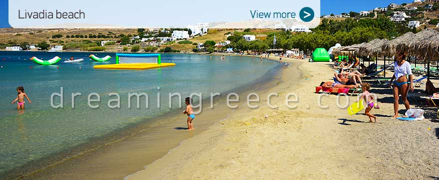 Livadia beach Paros island Beaches Greece. Summer Holidays Cyclades.
