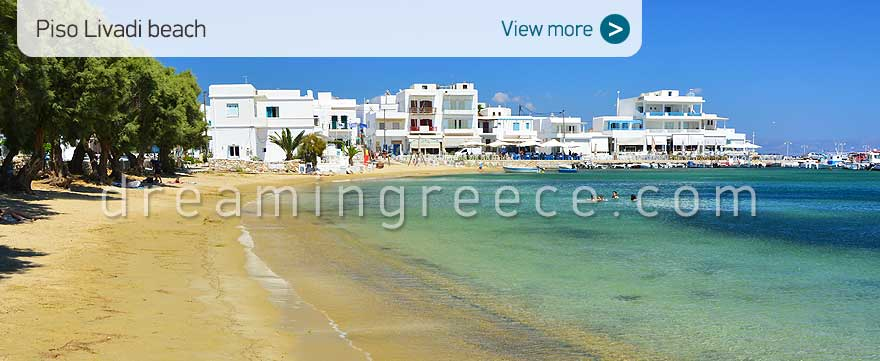 Piso Livadi beach Paros Beaches Greece. Travel Guide of Paros island.