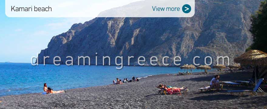 Kamari beach Santorini Beaches Greece. Holidays Greek islands.
