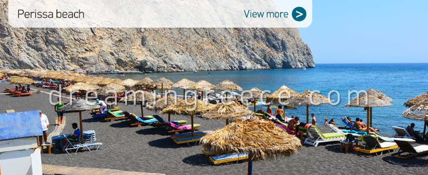 Perissa beach Santorini Beaches Greece. Vacations Greek islands.