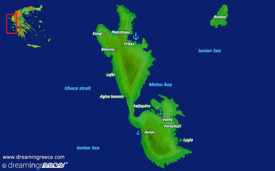 Ithaca island Map Greece Ionian Islands