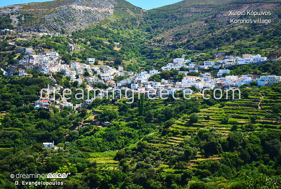 Korinos Village Naxos. Villages in Greece.
