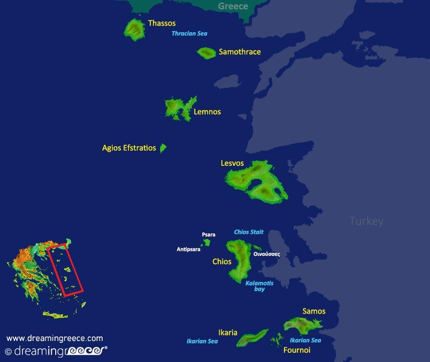 Northeastern Aegean Islands Map Greece. Vacation Greek islands.