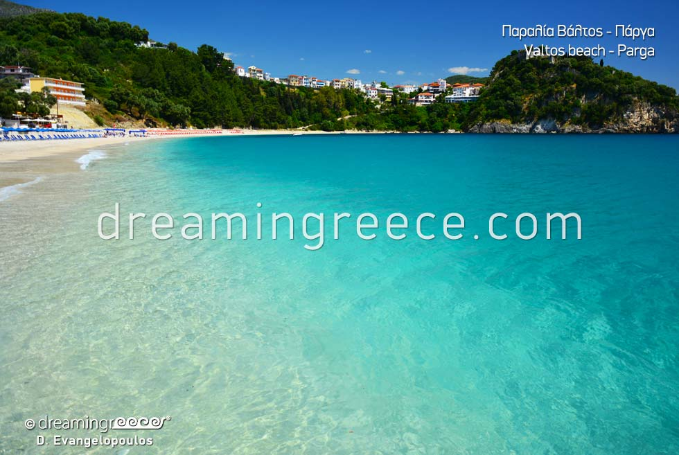 Crystal clear waters in Valtos beach in Parga Greece