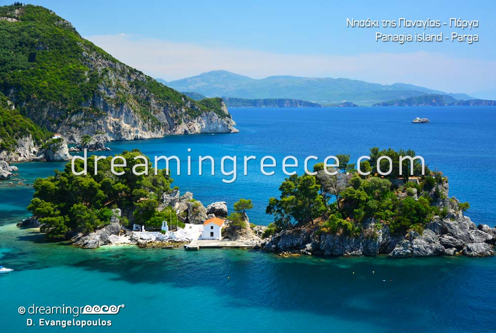 The idyllic island of Panagia in Parga Greece