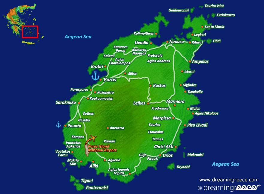 Paros island Map Greece