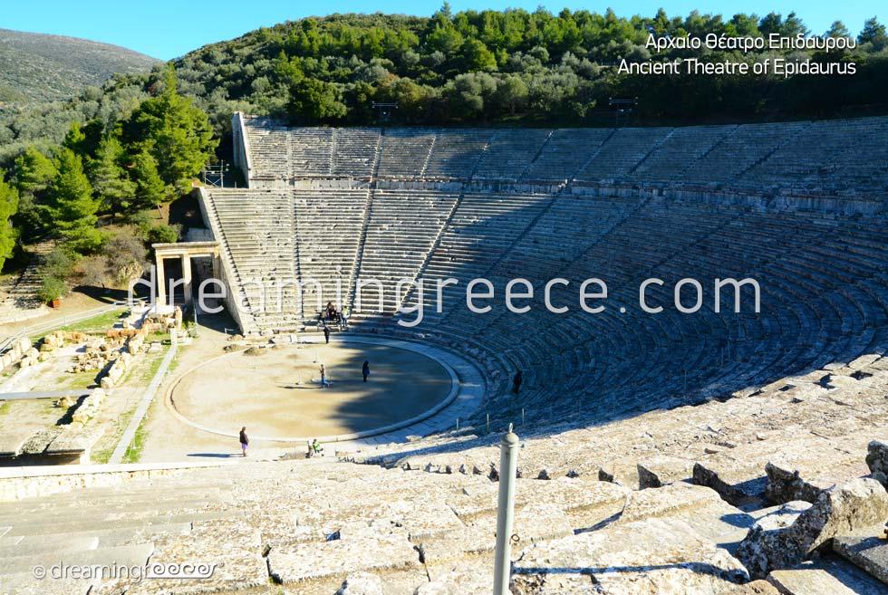Ancient Theater of Epidavros Argolida Peloponnese Tourist Guide of Greece