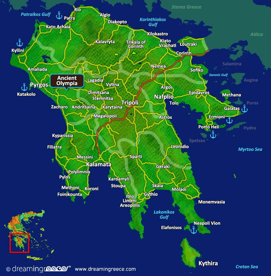 Ancient Olympia Map Peloponnese Greece