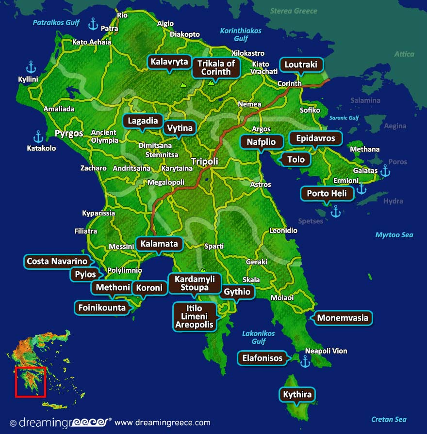 Peloponnese Map Greece. Vacations Greece.