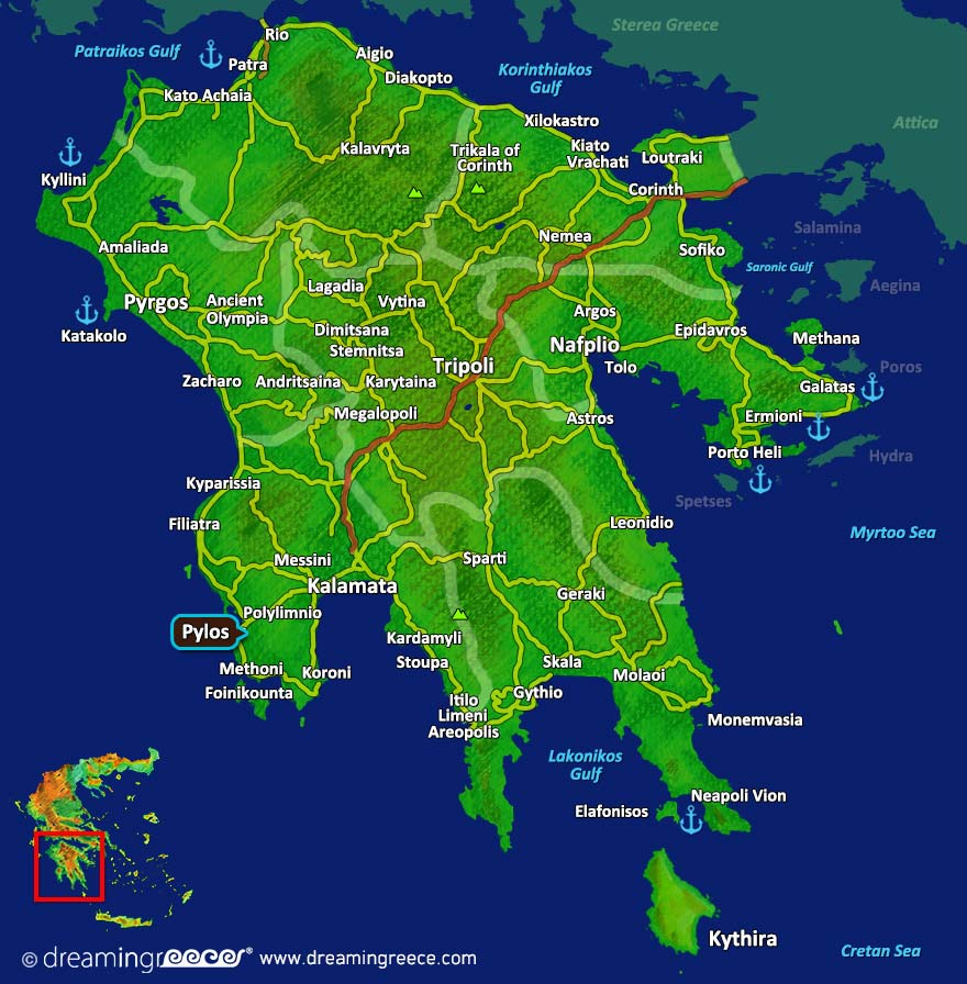 Pylos Map Messinia Peloponnese Greece