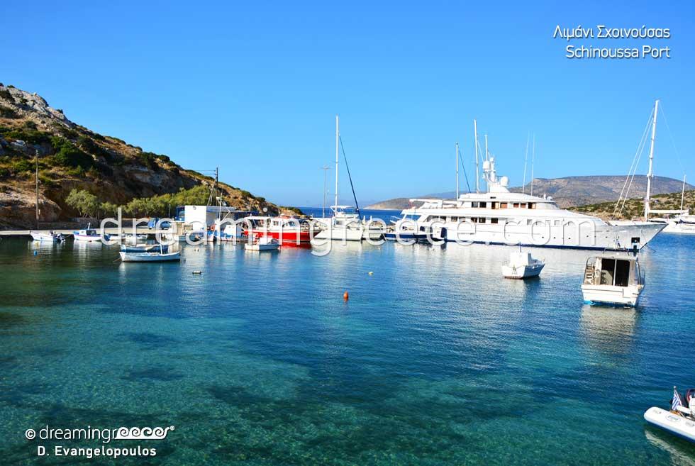 Tourist Guide of Schinoussa Greece Port. Greek islands.