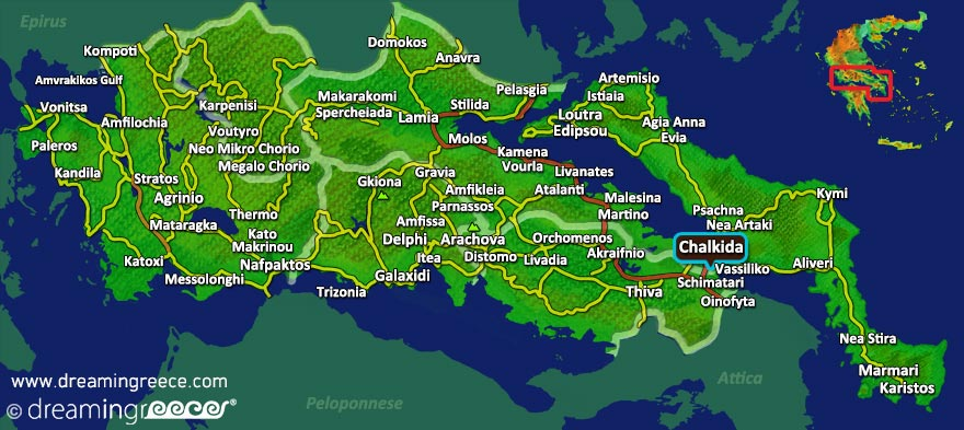 Chalkida Map Central Greece