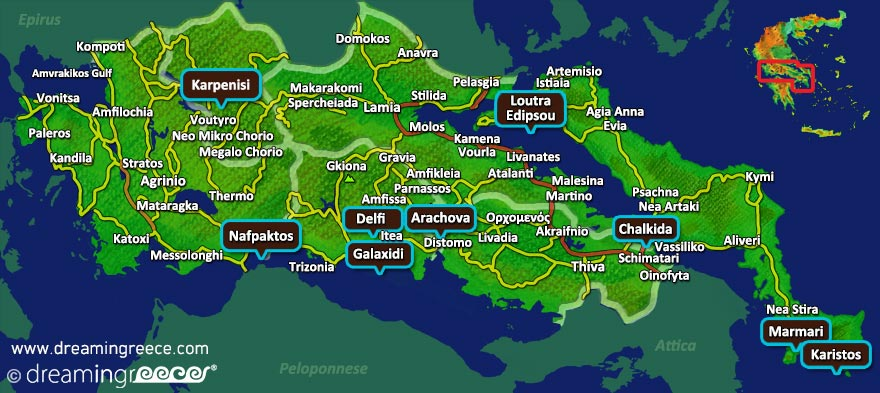 Central Greece Map Greece. Vacations Greece.