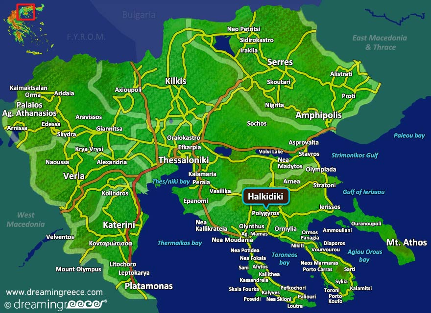 Halkidiki Map Greece. Summer Holidays in Greece.
