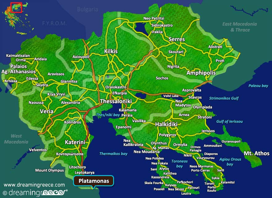 Platamonas Map Greece. Holidays in Greece.
