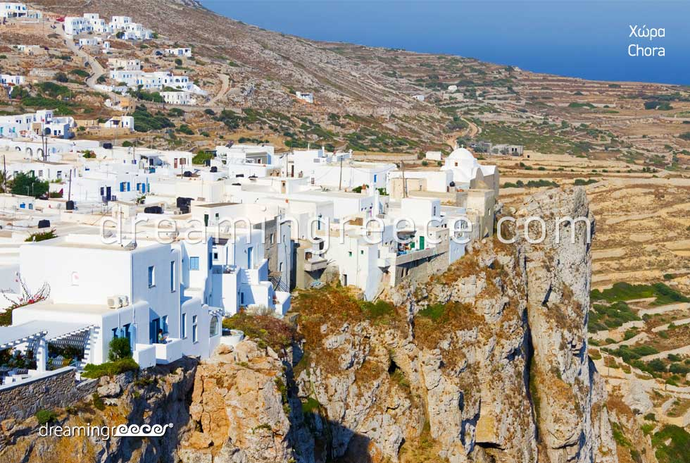 Visit Chora Folegandros island. summer Greece