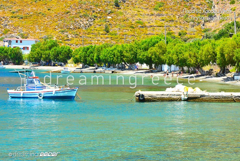 Chrysomilia beach Fourni of Ikaria island. Beaches in Greece