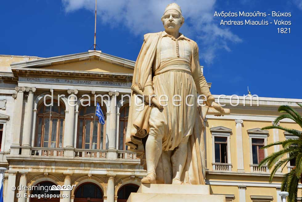 Andreas Miaoulis Vokos statue. Discover Syros Greece