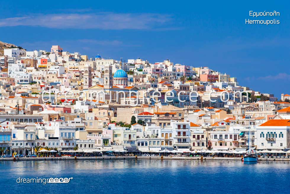 View of Hermoupolis Syros Greece