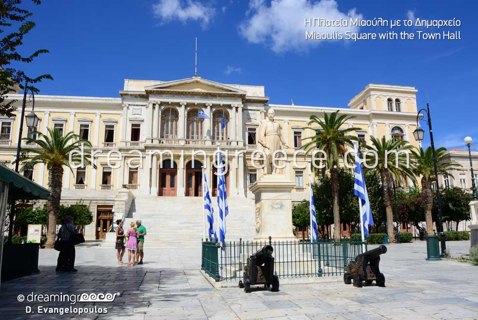 Syros Miaoulis Square Town hall. Travel Guide of Greece