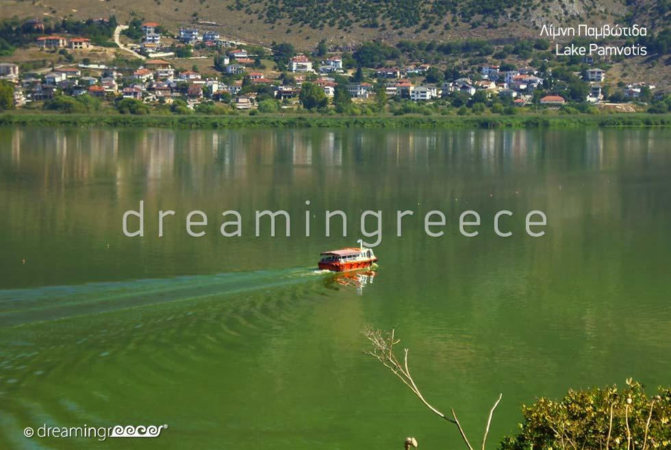 Lake Pamvotis in Ioannina Epirus. Winter Holidays in Greece