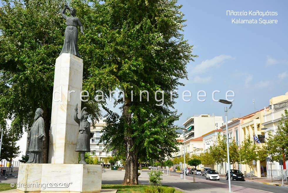 Kalamata Square Messinia Peloponnese Tourist Guide of Greece