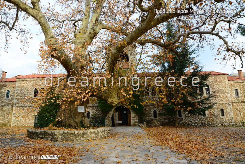 Courtyard Agia Lavra Kalavryta Peloponnese Greece