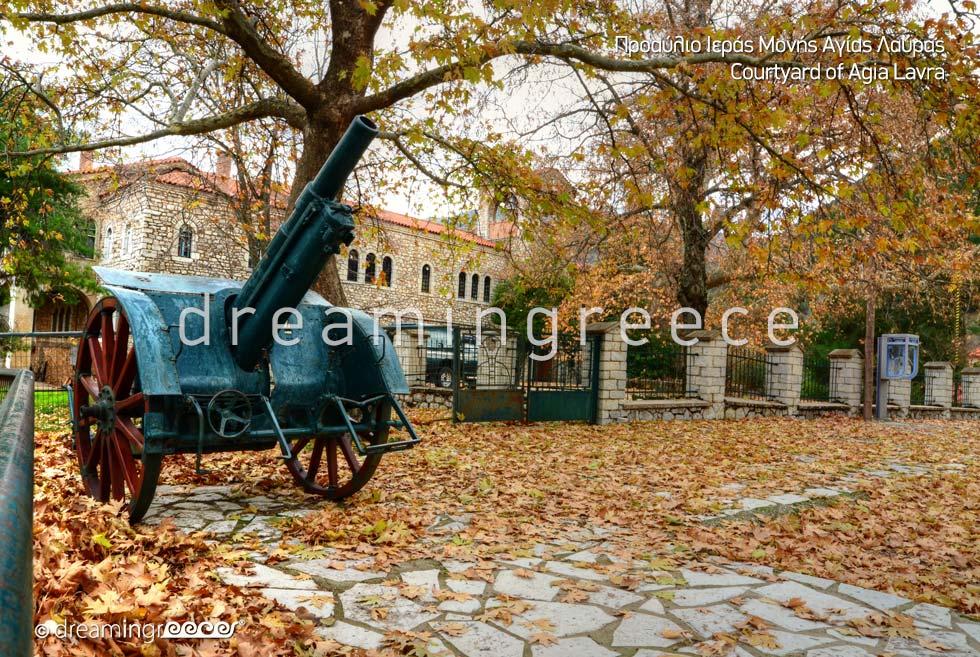 Courtyard Agia Lavra Kalavryta Peloponnese Tourist Guide Greece