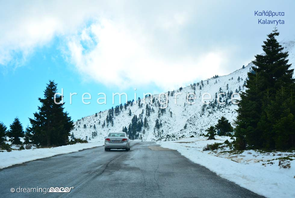 Driving Snow Kalavryta Peloponnese Greece