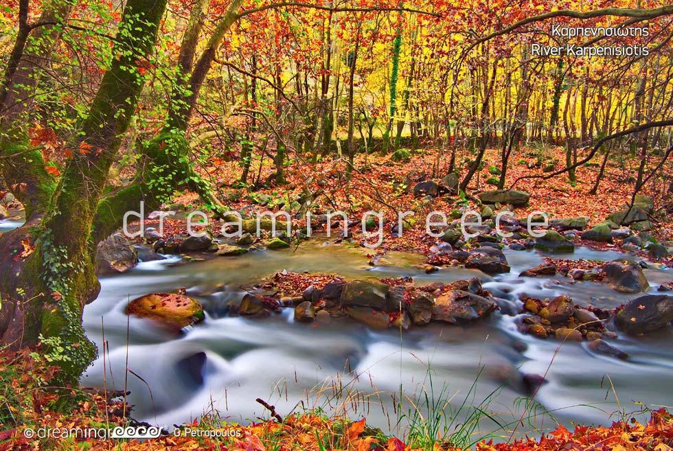 Karpenisiotis River. Winter Holidays.