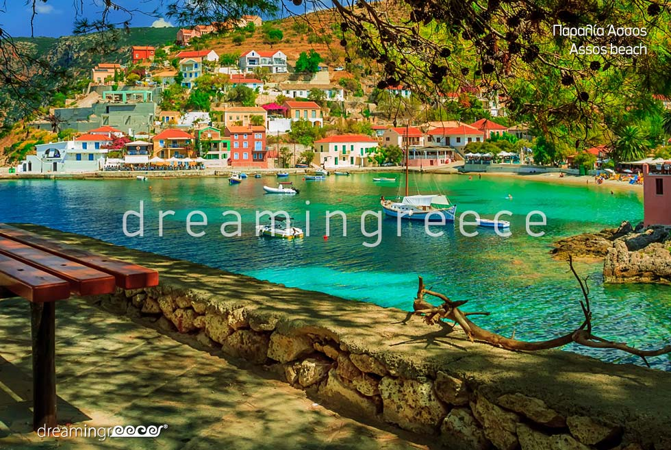 Assos beach in Kefalonia island Greece