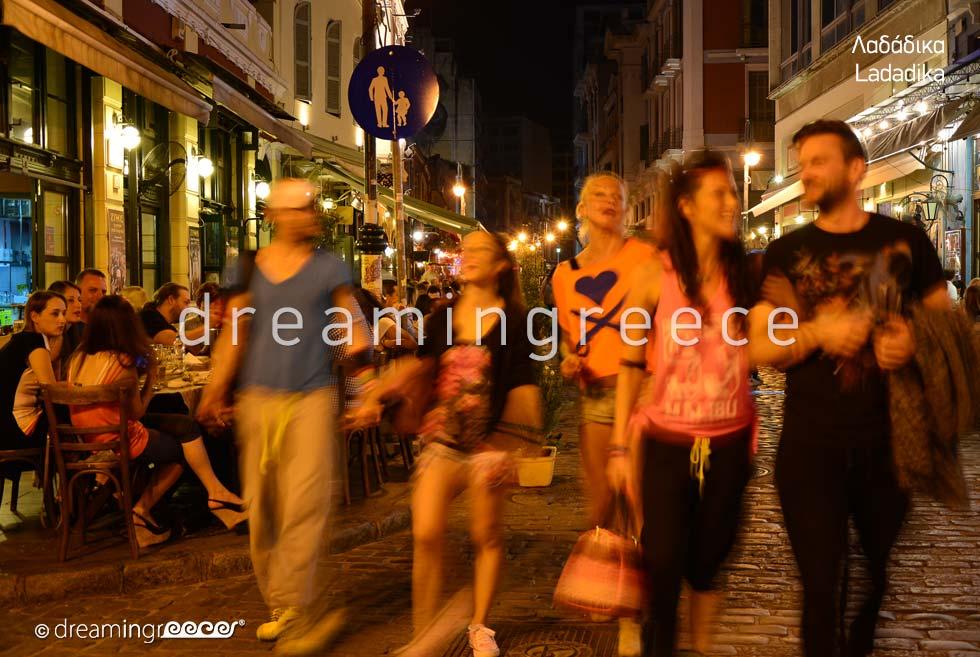 Ladadika Thessaloniki. Night life in Greece