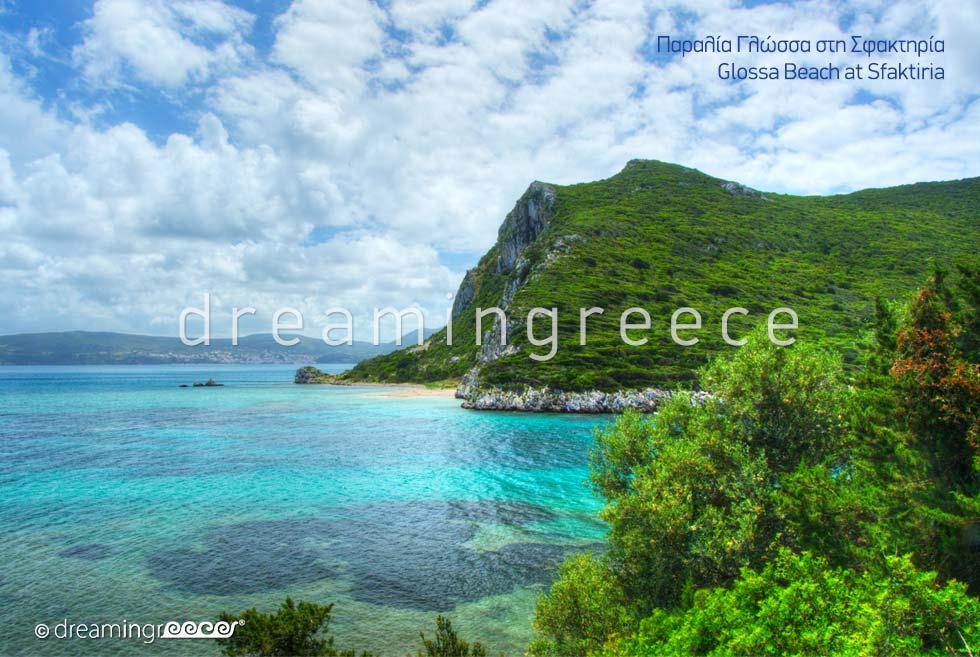 Glossa beach at Sfaktiria island Messinia Greece